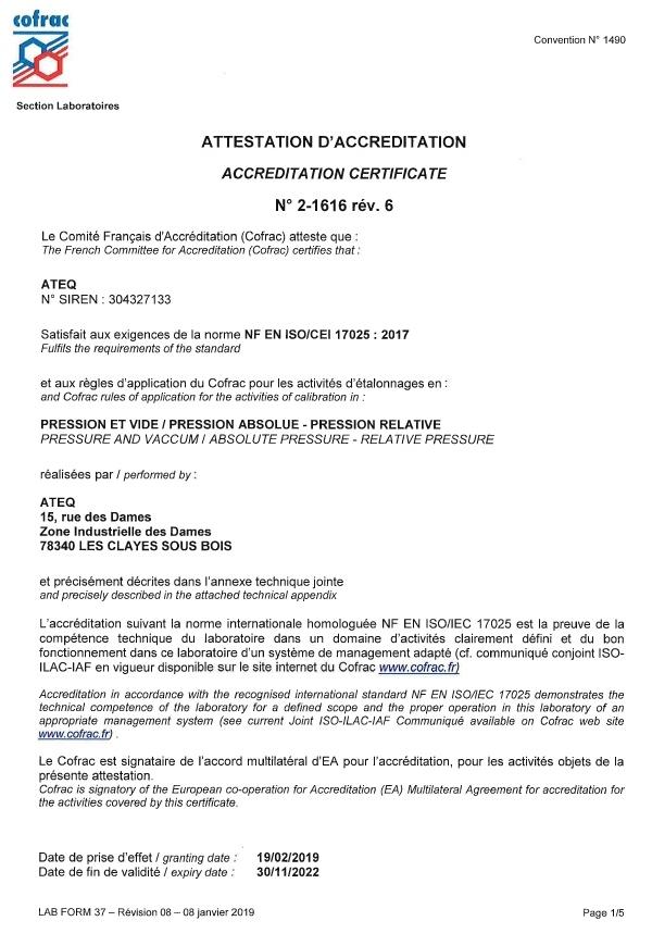 Akredytacja COFRAC – ISO 17025