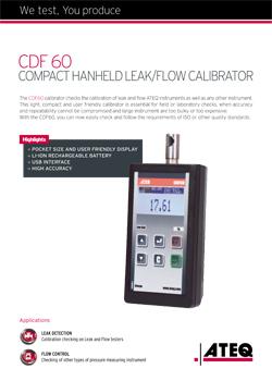 MODEL CDF60 | Kompaktowy kalibrator przecieku i przepływu