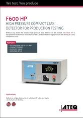 ATEQ F600HP   Wysokociśnieniowy detektor nieszczelności